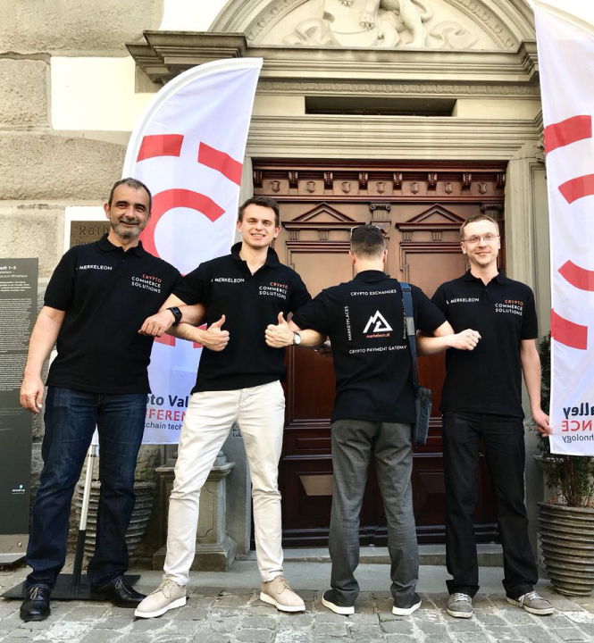 Merkeleon team at Cryptovalley Conference in Zug, Switzerland